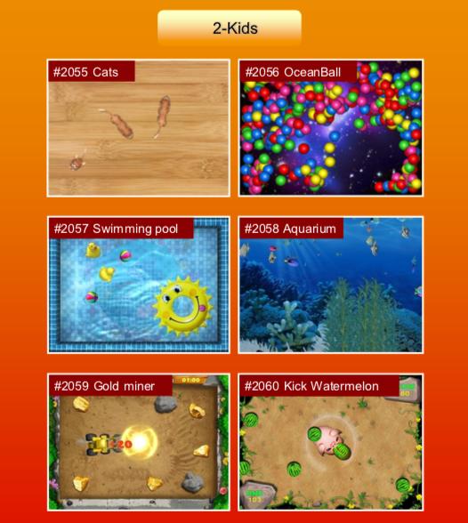 'Kids' options: #2055 Cats; #2056 OceanBall; #2057 Swimming pool; #2058 Aquarium; #2059 Gold miner; #2060 Kick Watermelon