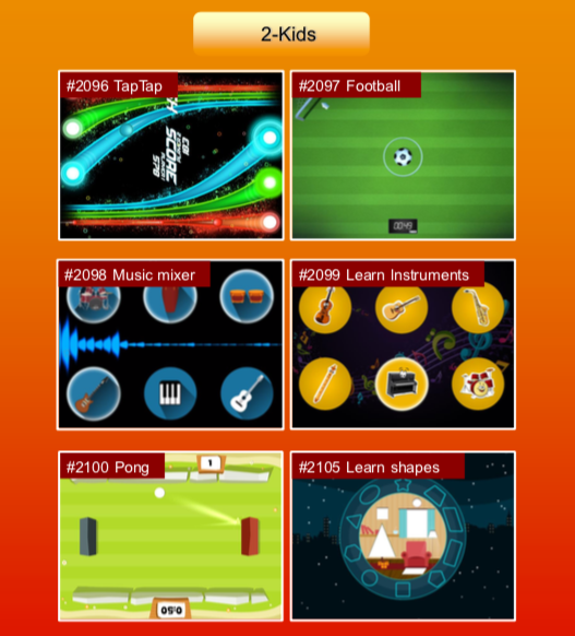 'Kids' options: #2096 TapTap; #2097 Football; #2098 Music mixer; #2099 Learn Instruments; #2100 Pong; #2105 Learn shapes