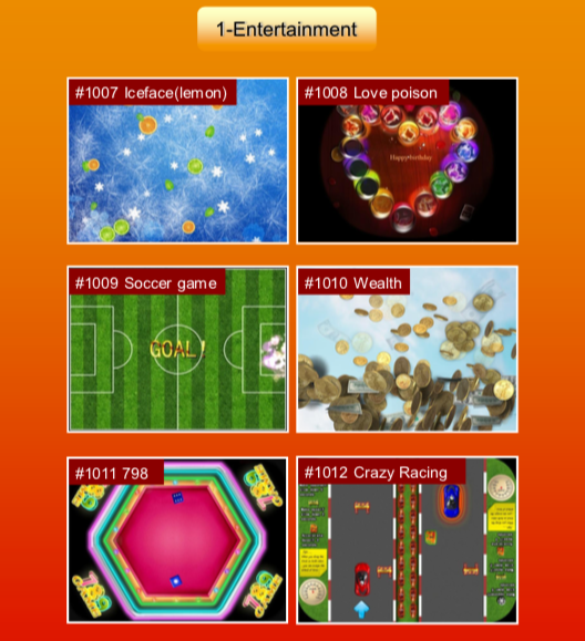 'Entertainment' games: #1007 Iceface (lemon); #1008 Love poison; #1009 Soccer game; #1010 Wealth; #1011 798; #1012 Crazy Racing