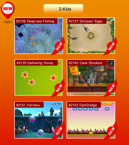 'Kids' options: #2136 Deep-sea Fishing; #2137 Dinosaur Eggs; #2139 Gathering Honey; #2140 Cans Shootout; #2141 FishTales; #2142 GemDodge