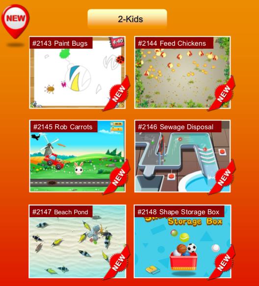 'Kids' options: #2143 Paint Bugs; #2144 Feed Chickens; #2145 Rob Carrots; #2146 Sewage Disposal; #2147 Beach Pond; #2148 Shape Storage Box