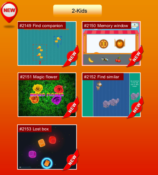 'Kids' options: #2149 Find companion; #2150 Memory window; #2151 Magic flower; #2152 Find similar; #2153 Lost box