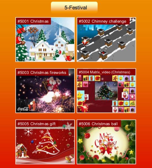 'Festival' options: #5001 Christmas; #5002 Chimney challenge; #5003 Christmas fireworks; #5004 Matrix video (Christmas); #5005 Christmas gift; #5006 Christmas ball