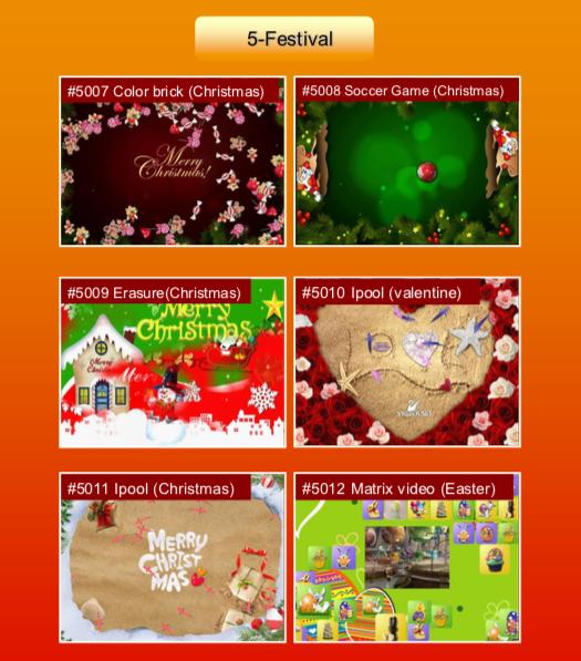 'Festival' options: #5007 Color brick (Christmas); #5008 Soccer Game (Christmas); #5009 Erasure (Christmas); #5010 Ipool (valentine); #5011 Ipool (Christmas); #5012 Matrix video (Easter)
