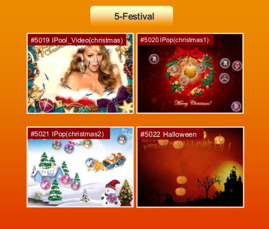 'Festival' options: #5019 Ipool Video (christmas); #5020 IPop (christmas1); #5021 IPop (christmas2); #5022 Halloween