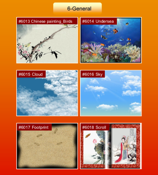 'General' options: #6013 Chinese painting Birds; #6014 Undersea; #6015 Cloud; #6016 Sky; #6017 Footprint; #6018 Scroll