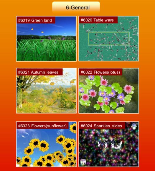 'General' options: #6019 Green land; #6020 Table ware; #6021 Autumn leaves; #6022 Flowers (lotus); #6023 Flowers (sunflower); #6024 Sparkles video