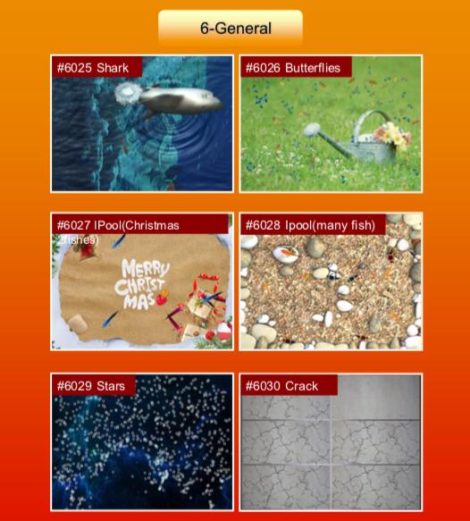 'General' options: #6025 Shark; #6026 Butterflies; #6027 IPool (Christmas; #6028 Ipool (many fish); #6029 Stars; #6030 Crack