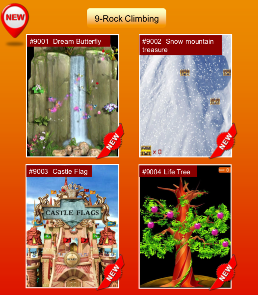 'Rock Climbing' options: #9001 Dream Butterfly; #9002 Snow mountain treasure; #9003 Castle Flag; #9004 Life Tree