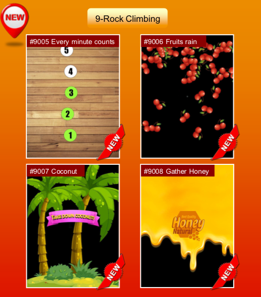 'Rock Climbing' options: #9005 Every minute counts; #9006 Fruits rain; #9007 Coconut; #9008 Gather Honey