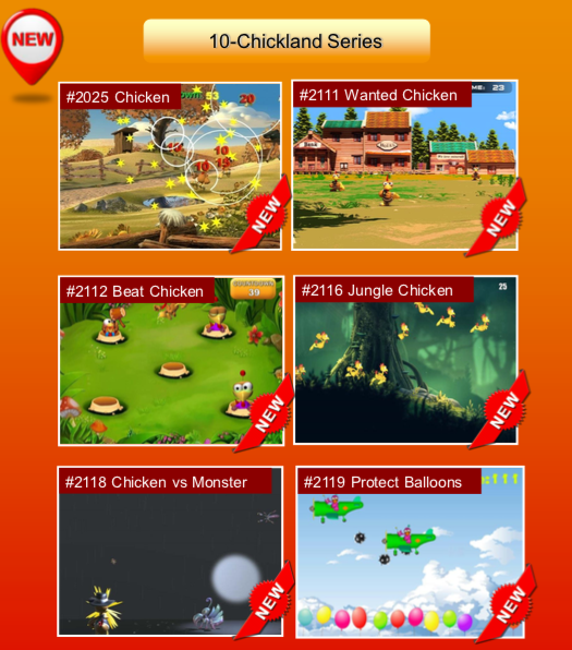 'Chickland Series' options: #2025 Chicken; #2111 Wanted Chicken; #2112 Beat Chicken; #2116 Jungle Chicken; #2118 Chicken vs Monster; #2119 Protect Balloons