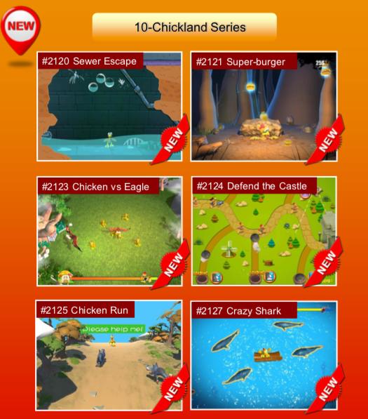 'Chickland Series' options: #2120 Sewer Escape; #2121 Super-burger; #2123 Chicken vs Eagle; #2124 Defend the Castle; #2125 Chicken Run; #2127 Crazy Shark