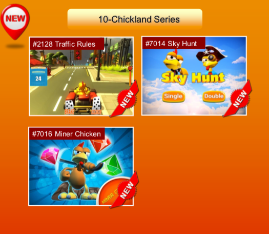 'Chickland Series' options: #2128 Traffic Rules; #7014 Sky Hunt; #7016 Miner Chicken
