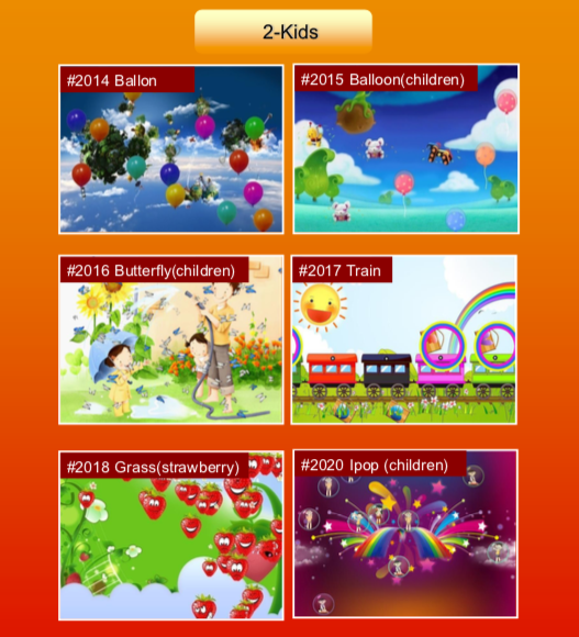 'Kids' options: #2014 Balloon; #2015 Balloon (children) ; #2016 Butterfly (children) ; #2017 Train; #2018 Grass (strawberry) ; #2020 Ipop (children)