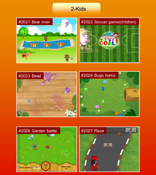 'Kids' options: #2021 Bear river; #2022 Soccer game (children); #2023 Bead; #2024 Bugs home; #2026 Garden battle; #2027 Race