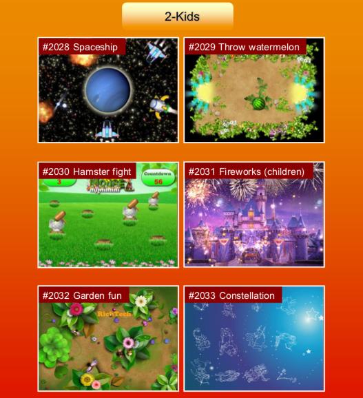 'Kids' options: #2028 Spaceship; #2029 Throw watermelon; #2030 Hamster fight; #2031 Fireworks (children); #2032 Garden fun; #2033 Constellation