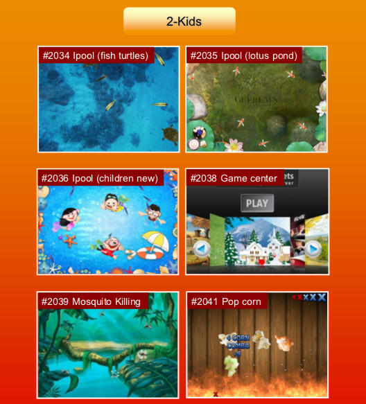 'Kids' options: #2034 Ipool (fish turtles); #2035 Ipool (lotus pond); #2036 Ipool (children new); #2038 Game center; #2039 Mosquito killing; #2041 Pop corn