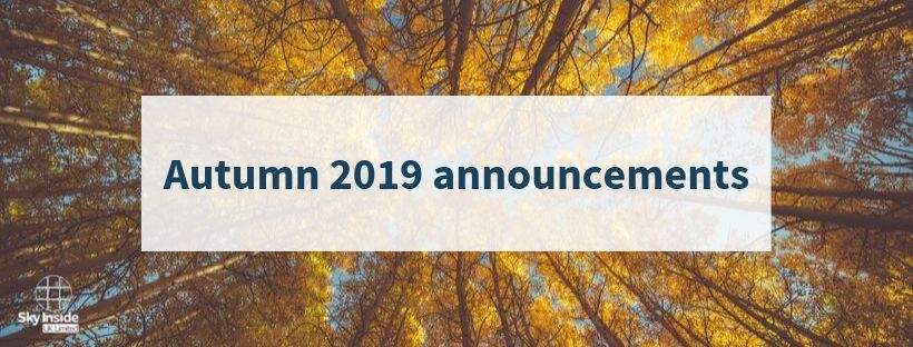 Blog banner with tall trees yellow leaves with text 'Autumn 2019 announcements'