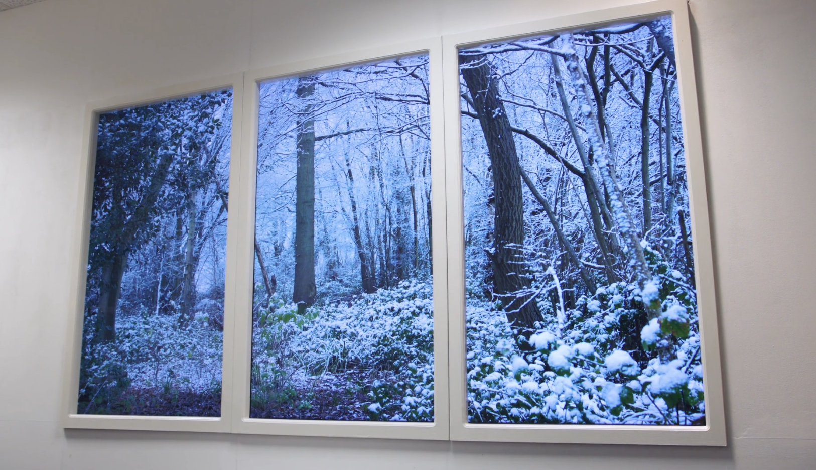 Artificial LED window with three panels showing snowy woodland