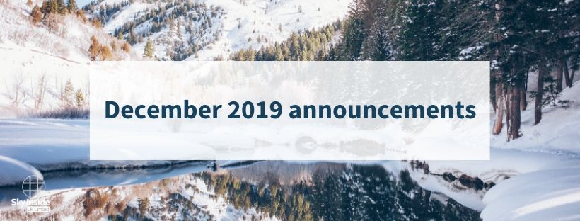 Blog banner with snowy forest background and text 'December 2019 announcements'