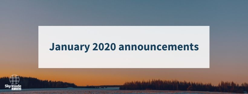 Blog banner with orange and blue sunset background and text 'January 2020 announcements'