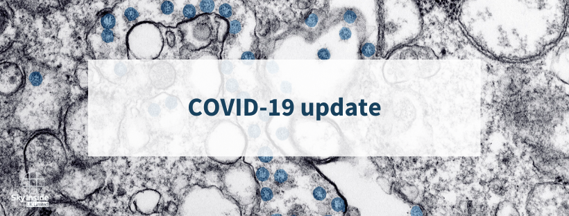 Blog banner with grey/white background and text 'COVID-19 update' for Sky Inside's company response to coronavirus