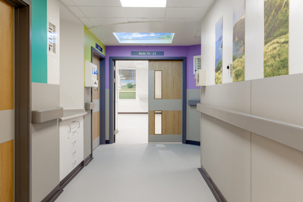 End of hospital corridor with Sky Inside feature ceiling lighting