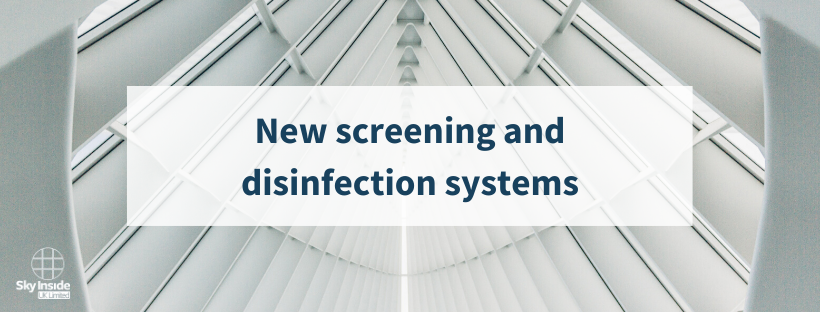 Blog banner saying 'new screening and disinfection systems' with white clinical interior background
