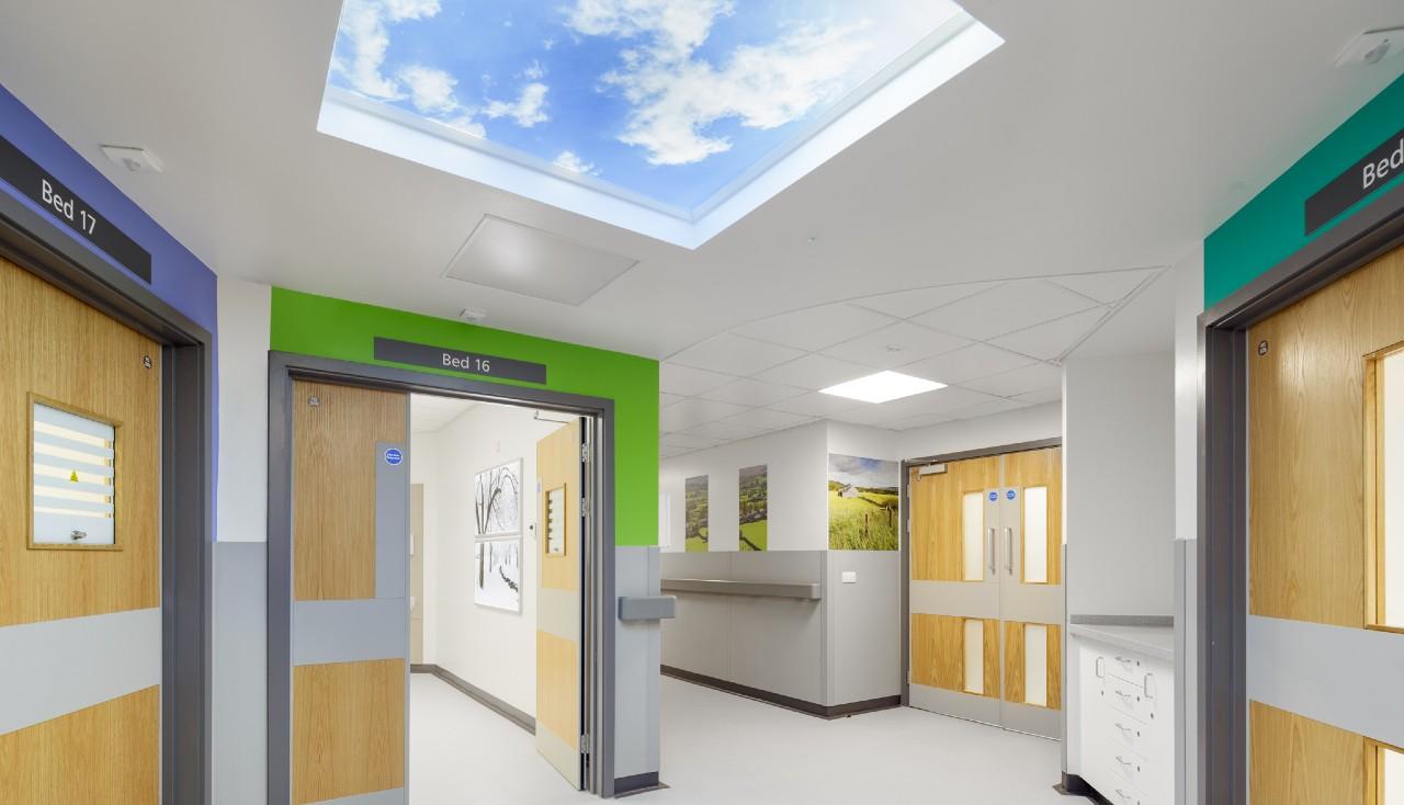 Hospital corridor with virtual skylight