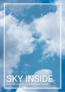 Cover of brochure with blue skies and clouds, saying 'Bring the sky inside'