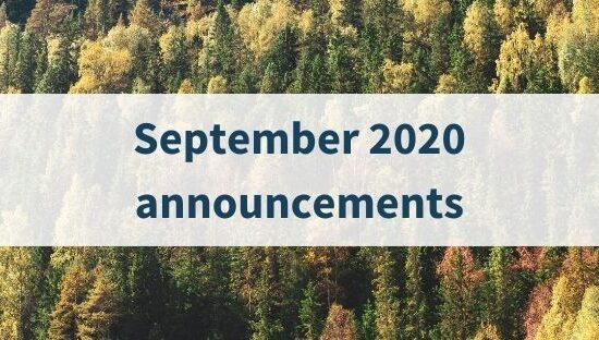 September 2020 announcements