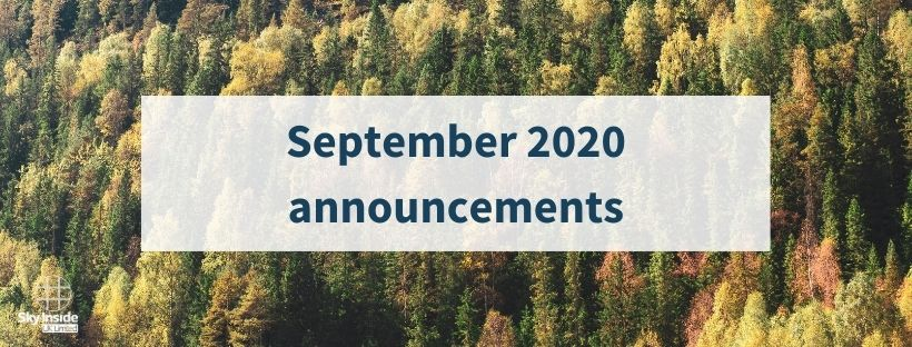 Autumnal trees in forest with blog banner saying 'September 2020 announcements'