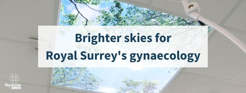 Image of a room with large digital ceiling panel showing green leaves and blue skies, with a graphic in front of a transparent white box and text saying 'Brighter skies for Royal Surrey's gynaecology'