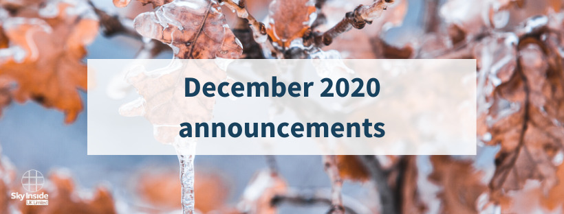 Frozen leaves image with a banner in front saying 'December 2020 announcements'