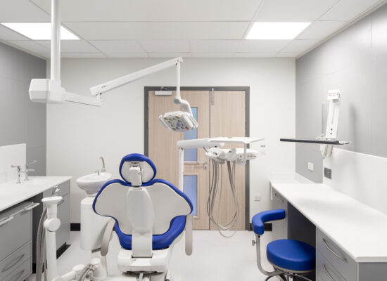 Clinical dentist room with artificial sky ceiling showing a fake fish tank
