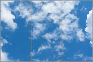 Six led sky ceiling panels in rectangle with blue skies and clouds