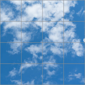 Natural daylight led panel 16 squares with clear image of blue sky and clouds