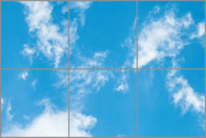 Six led sky ceiling panels in rectangle with light blue skies and wispy clouds