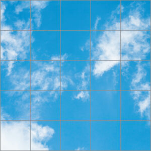 LED sky ceilings 25 panels in square with soft clouds over light blue skies
