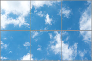 Six led sky ceiling panels in rectangle with soft blue skies and wispy clouds
