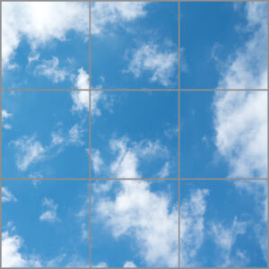Artificial skylight for uk with nine panels in a square showing soft blue skies with white clouds