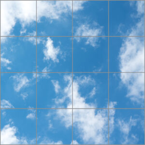 Natural daylight led panel 16 squares with clear image of blue sky and soft clouds