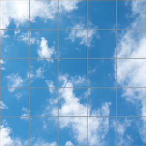 LED sky ceilings 25 panels in square with faint clouds over muted blue skies