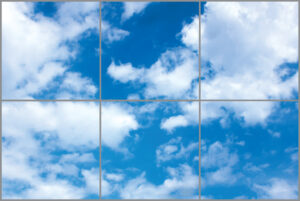 Six led sky ceiling panels in rectangle with bright blue skies and thick clouds