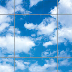 LED sky ceilings 25 panels in square with full clouds over bright blue skies