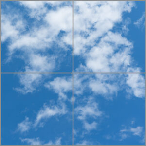 Four cloud scene led panels in a square with blue skies and clouds