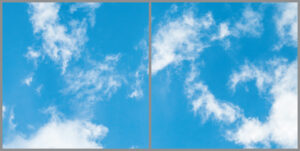 Two cloud sky panels for ceiling with bright blue skies and wispy clouds