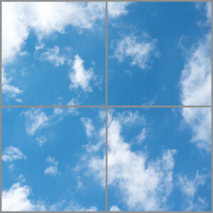 Four cloud scene led panels in a square with soft blue skies and wispy clouds