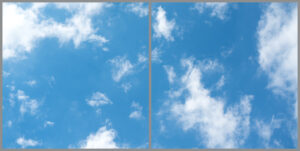 Two cloud sky panels for ceiling with soft blue skies and wispy clouds