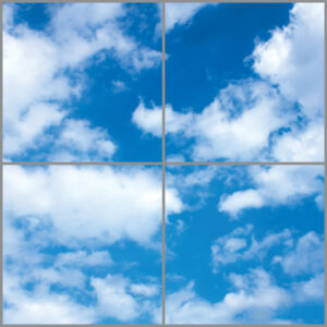Four cloud scene led panels in a square with bright blue skies and thick clouds